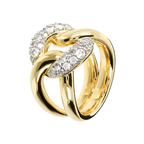 Maxi Chain Ring with Pavè CZ Yellow Gold