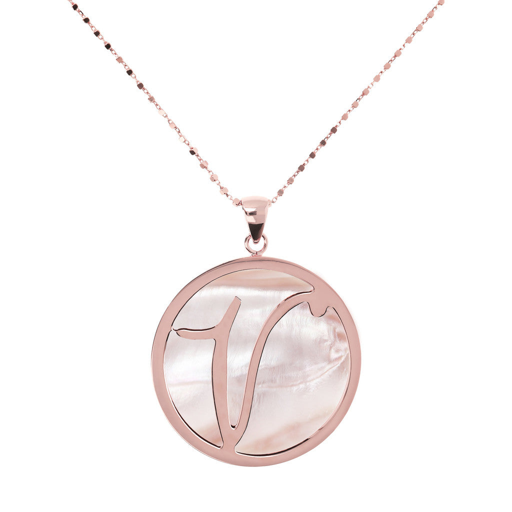 Maxi Charm Necklace in Mother of Pearl PINK MOP-V