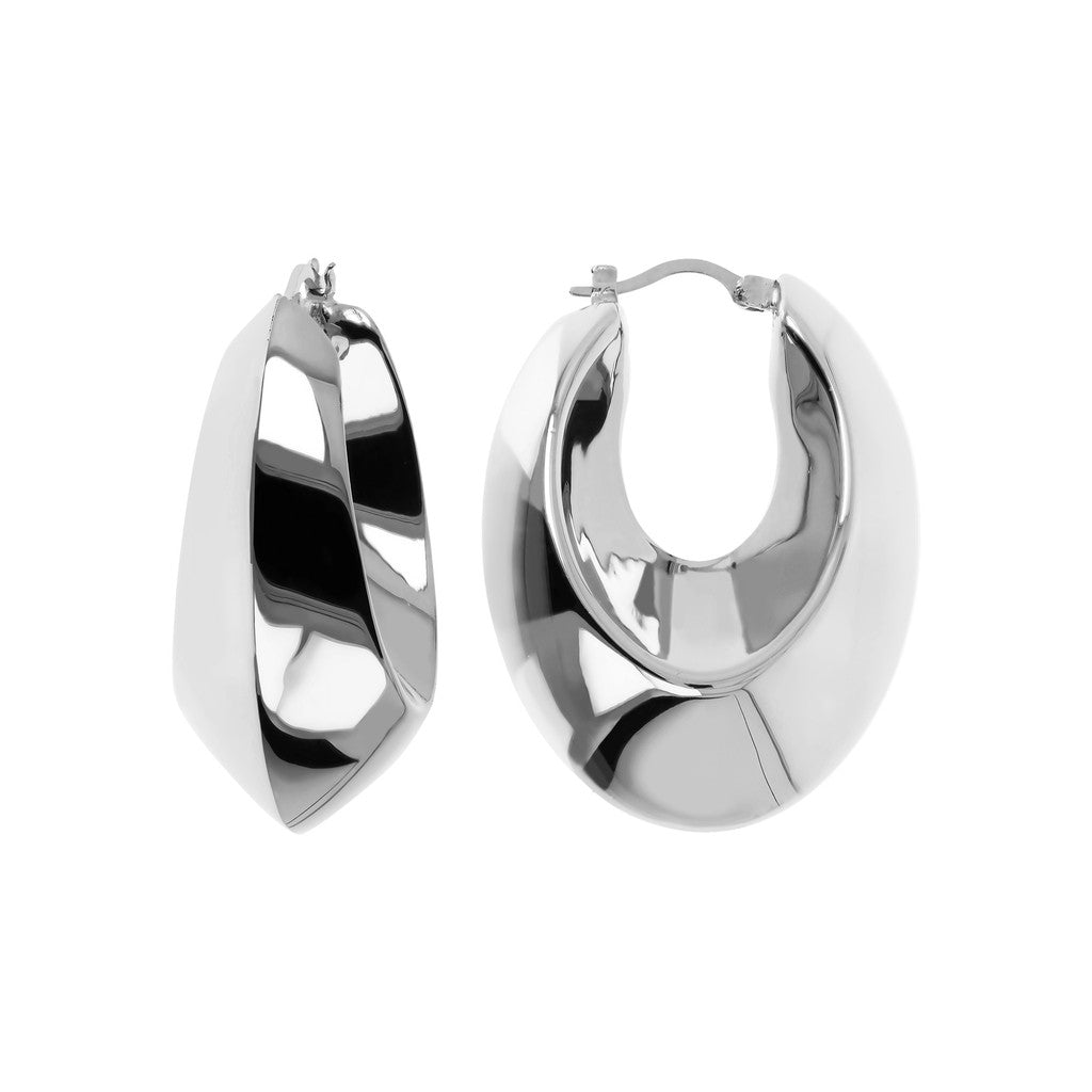 White gold hoops Luna front and side