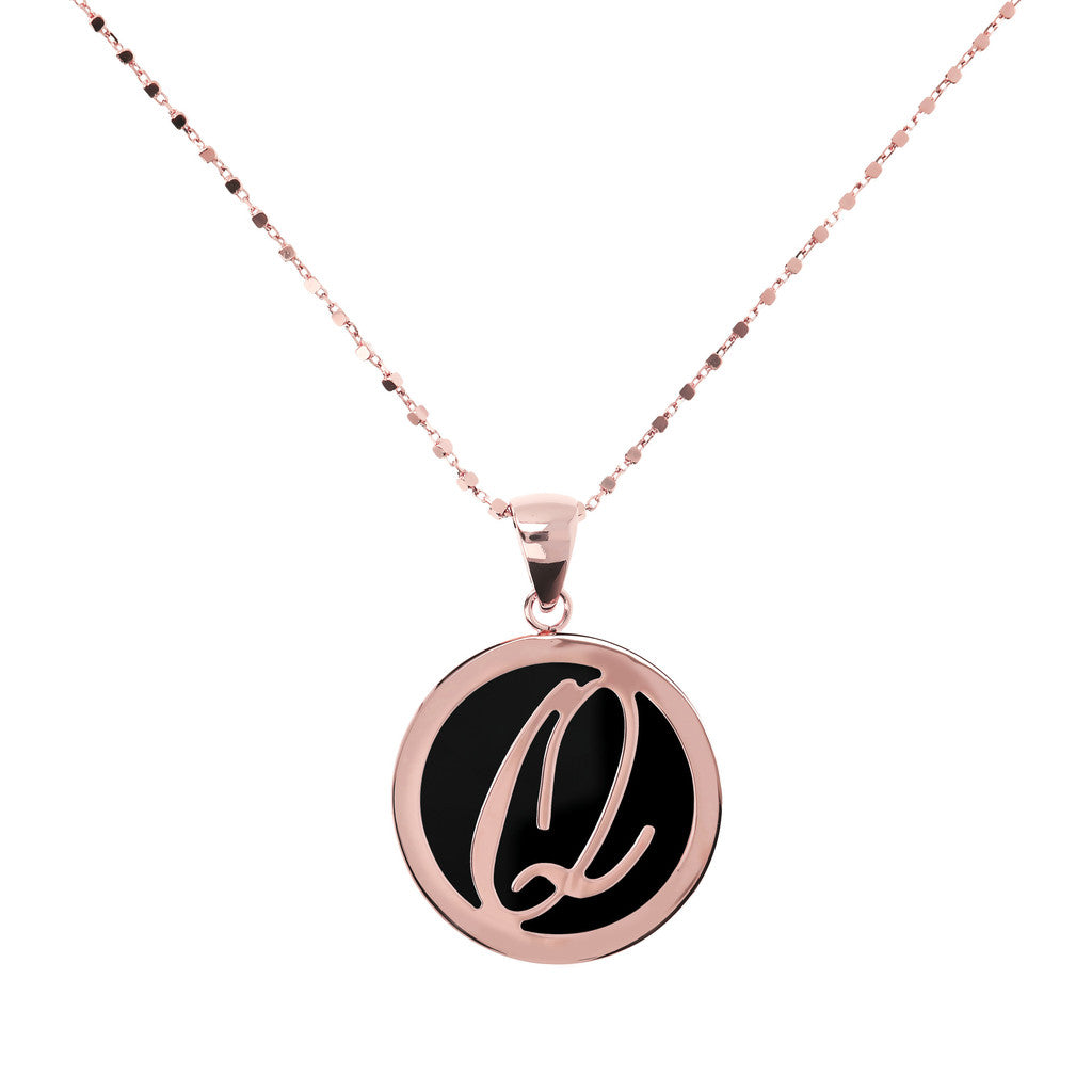 Letter q necklace in Black Onyx