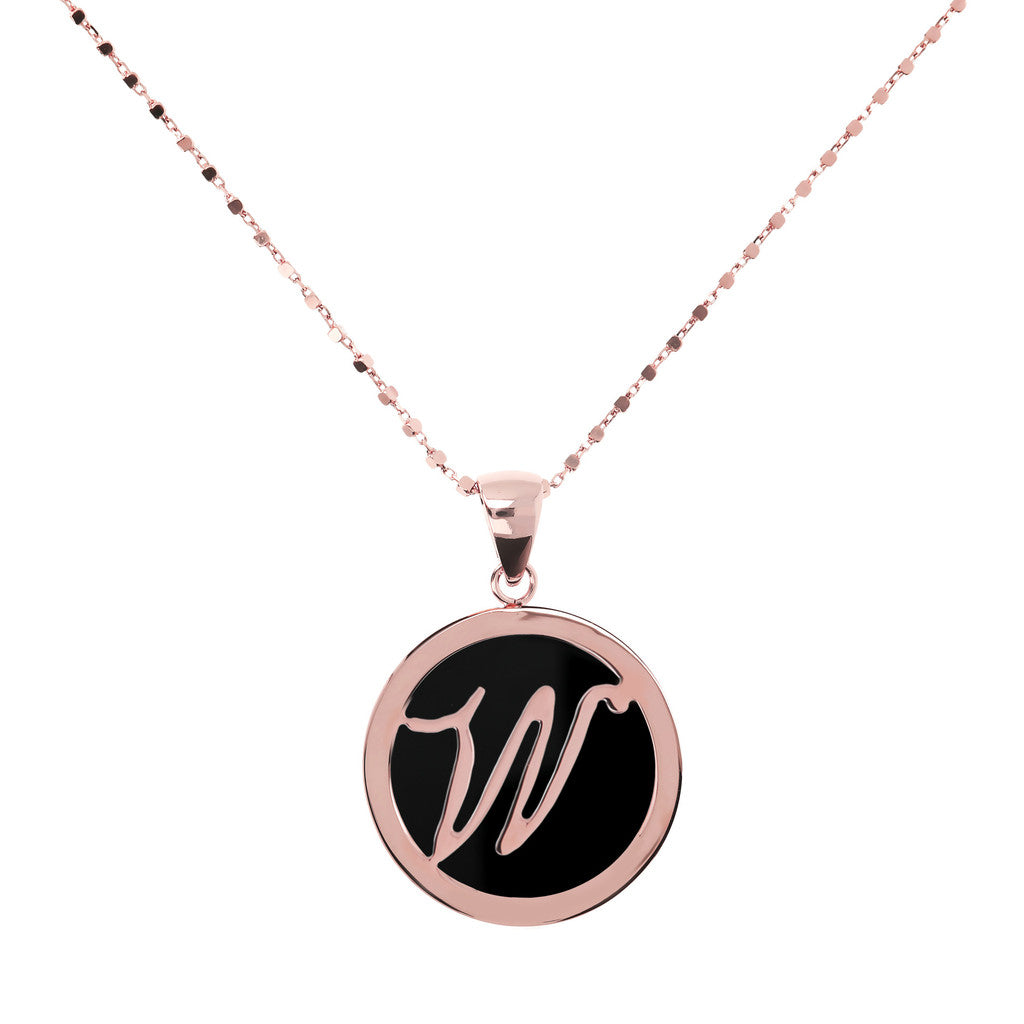 Letter w necklace in Black Onyx