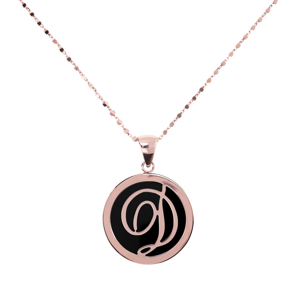 Letter d necklace in Black Onyx