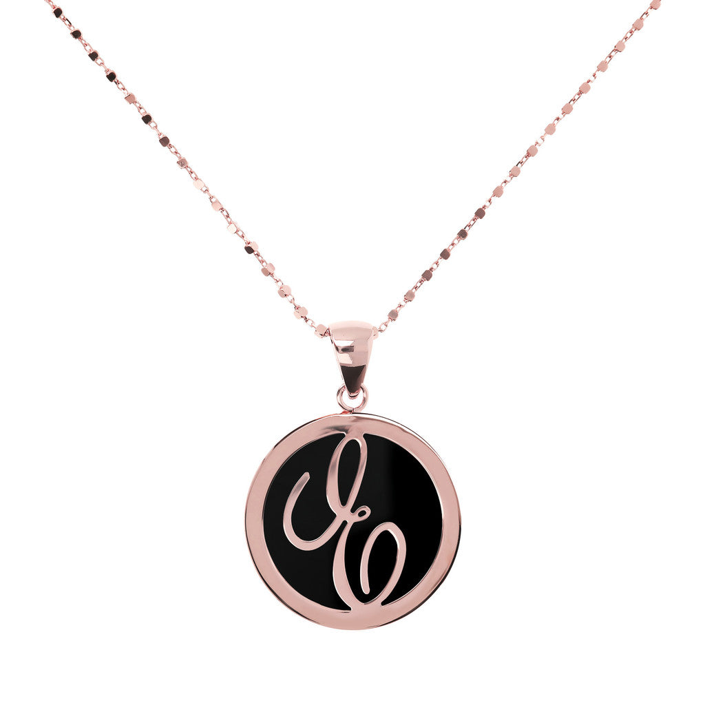 Letter e necklace in Black Onyx
