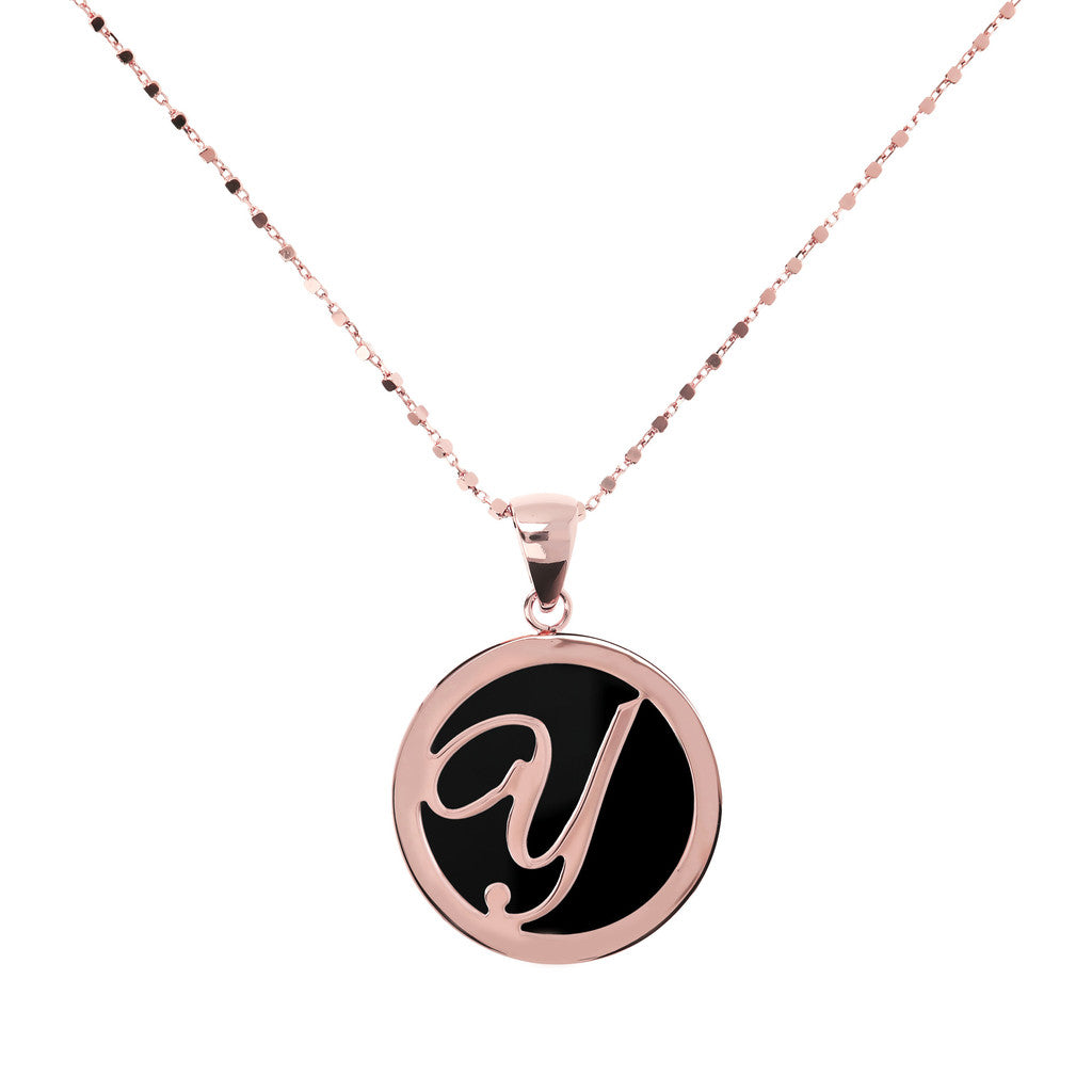 Letter y necklace in Black Onyx
