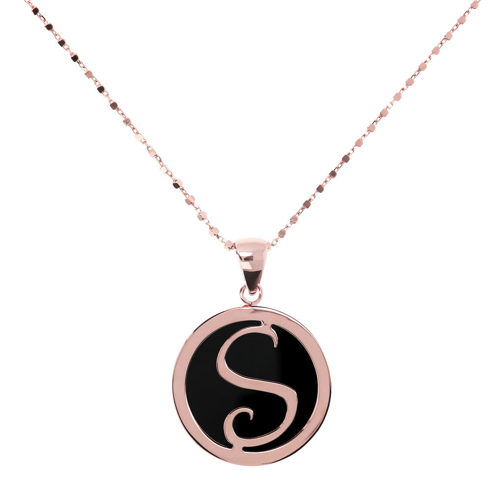 Letter s necklace in Black Onyx