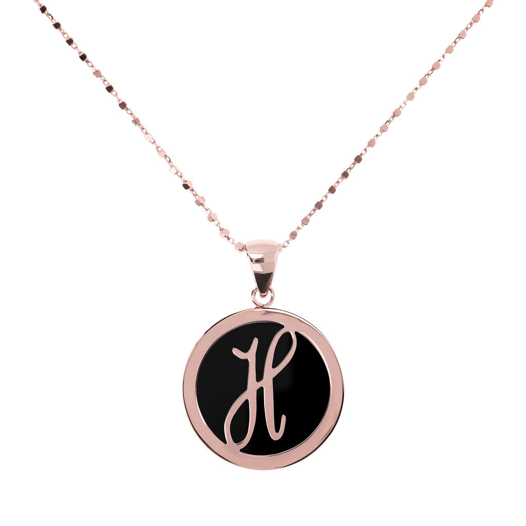 Letter h necklace in Black Onyx