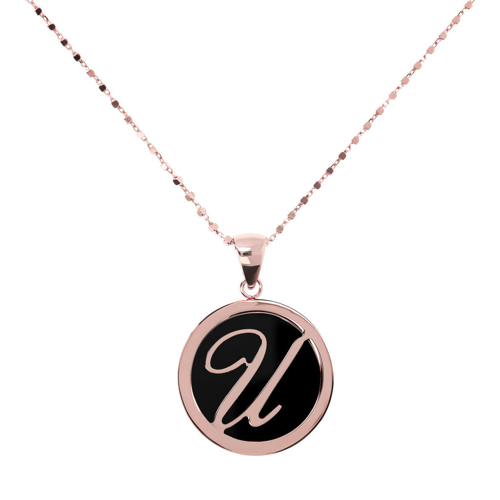 Letter u necklace in Black Onyx