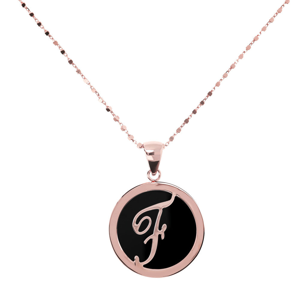 Letter f necklace in Black Onyx