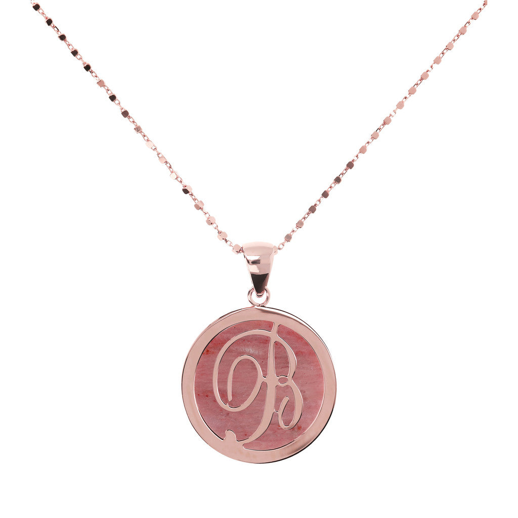 Letter b necklace in Red Fossil Wood