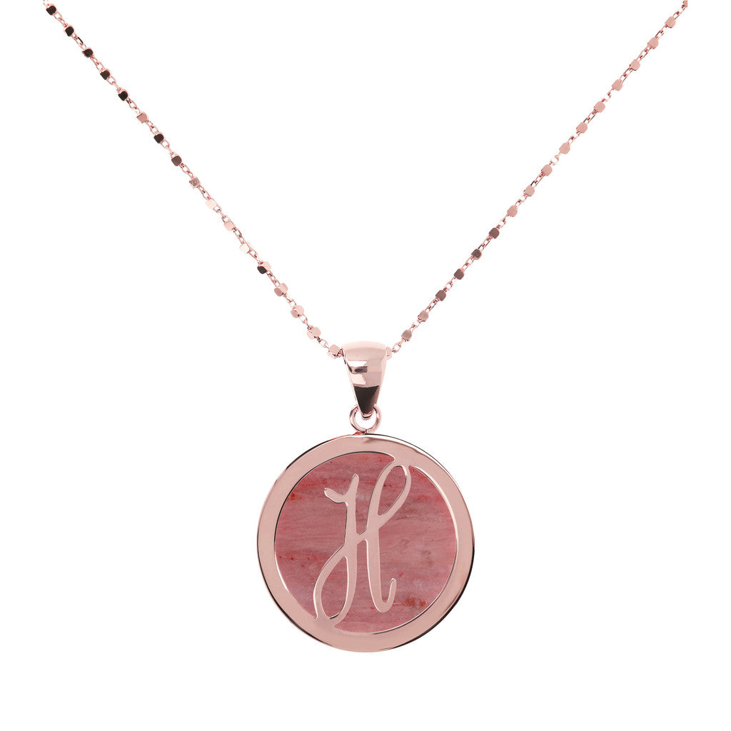 Letter h necklace in Red Fossil Wood