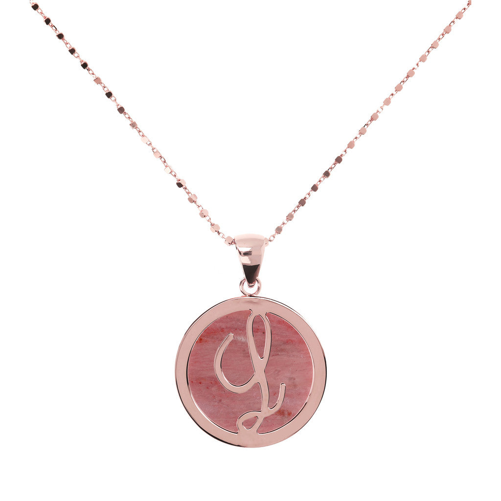 Letter g necklace in Red Fossil Wood