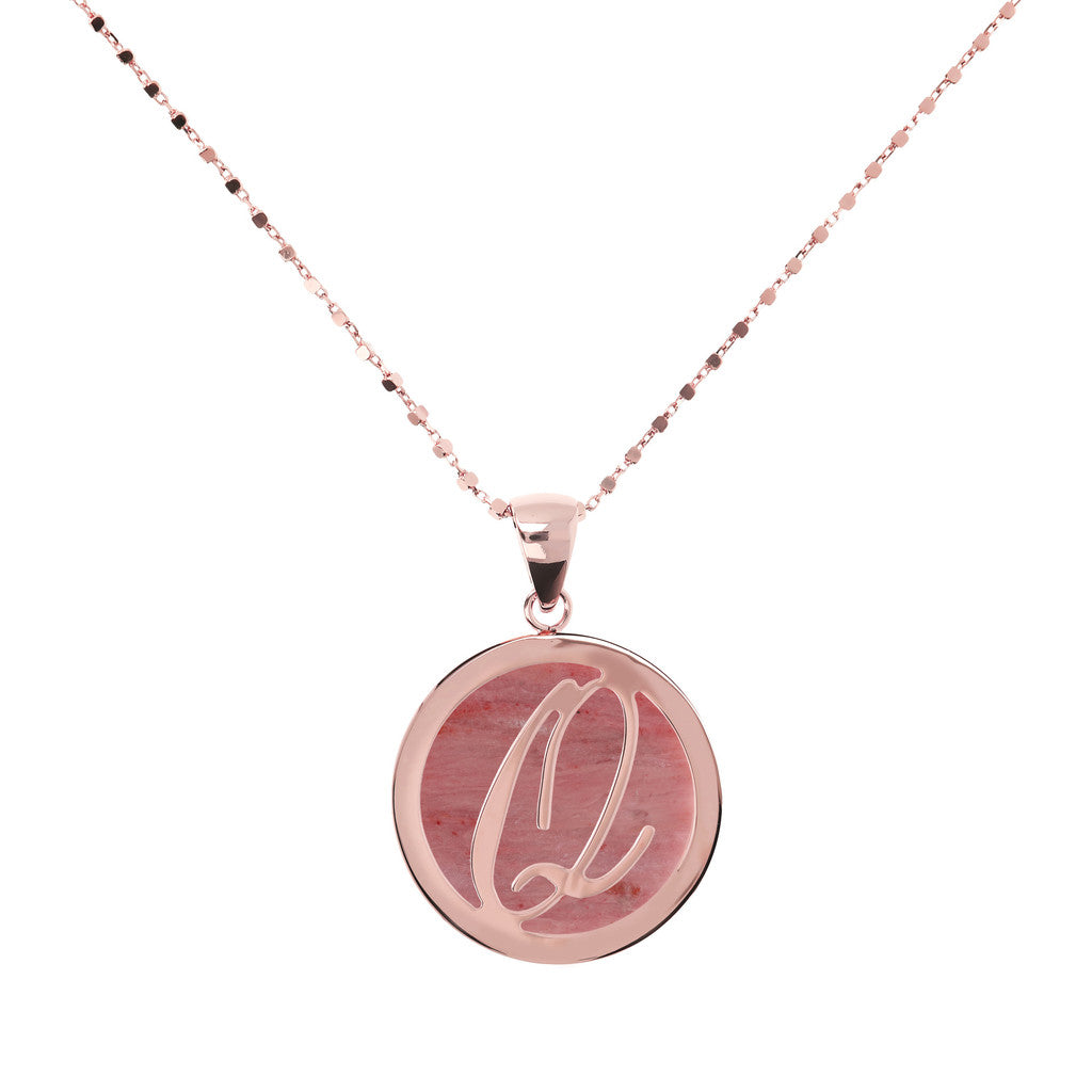 Letter q necklace in Red Fossil Wood