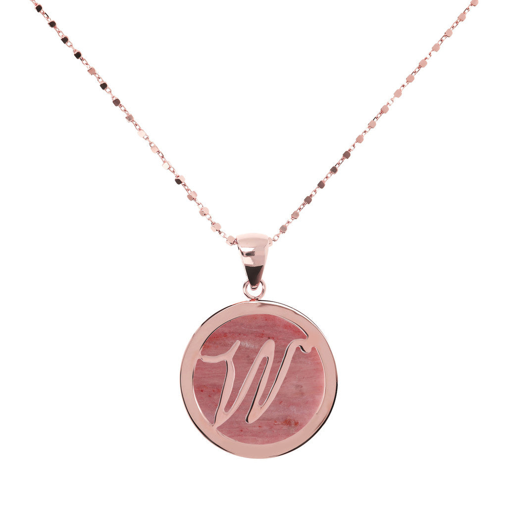 Letter w necklace in Red Fossil Wood