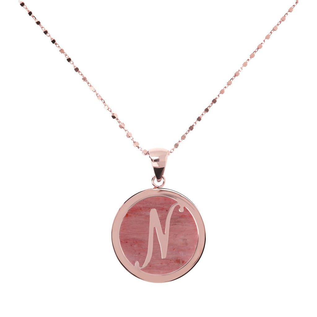Letter n necklace in Red Fossil Wood