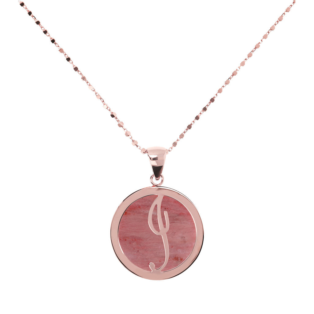 Letter j necklace in Red Fossil Wood
