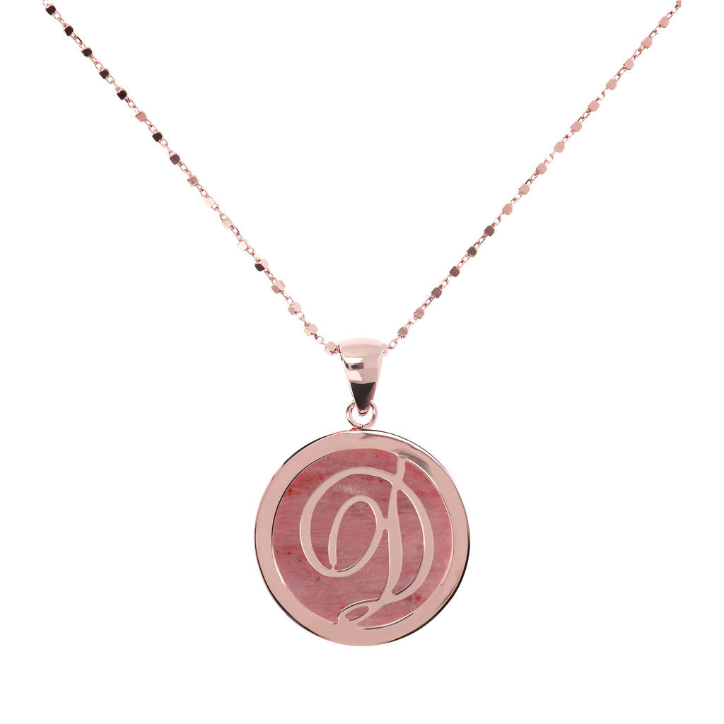 Letter d necklace in Red Fossil Wood