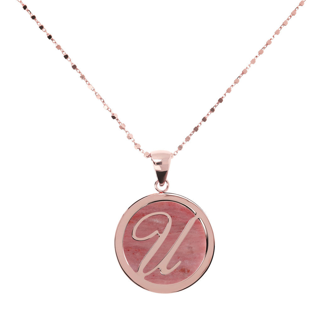 Letter u necklace in Red Fossil Wood