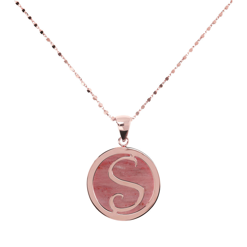 Letter s necklace in Red Fossil Wood