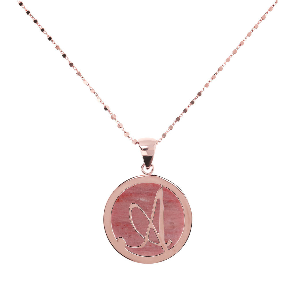 Letter a necklace in Red Fossil Wood