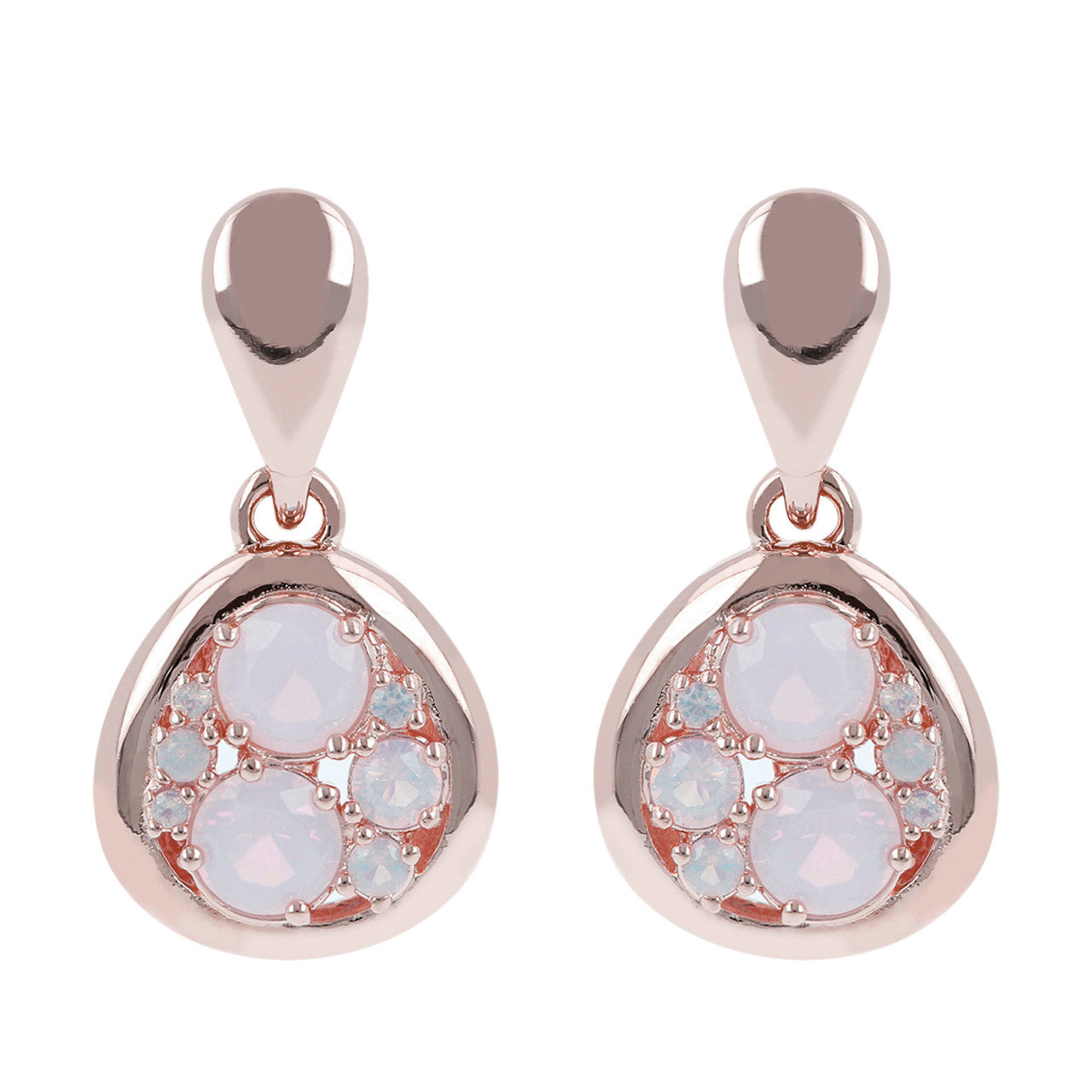 Moon Earrings PINK OPAL