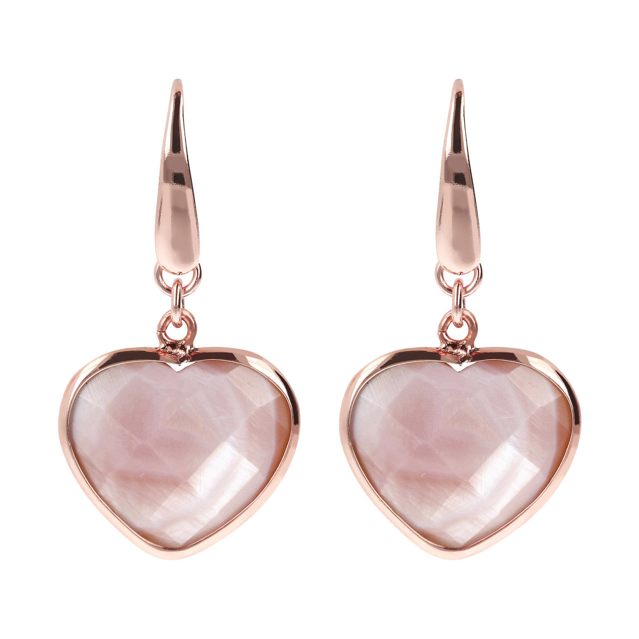 Mother of Pearl Heart Earrings PINK MOP