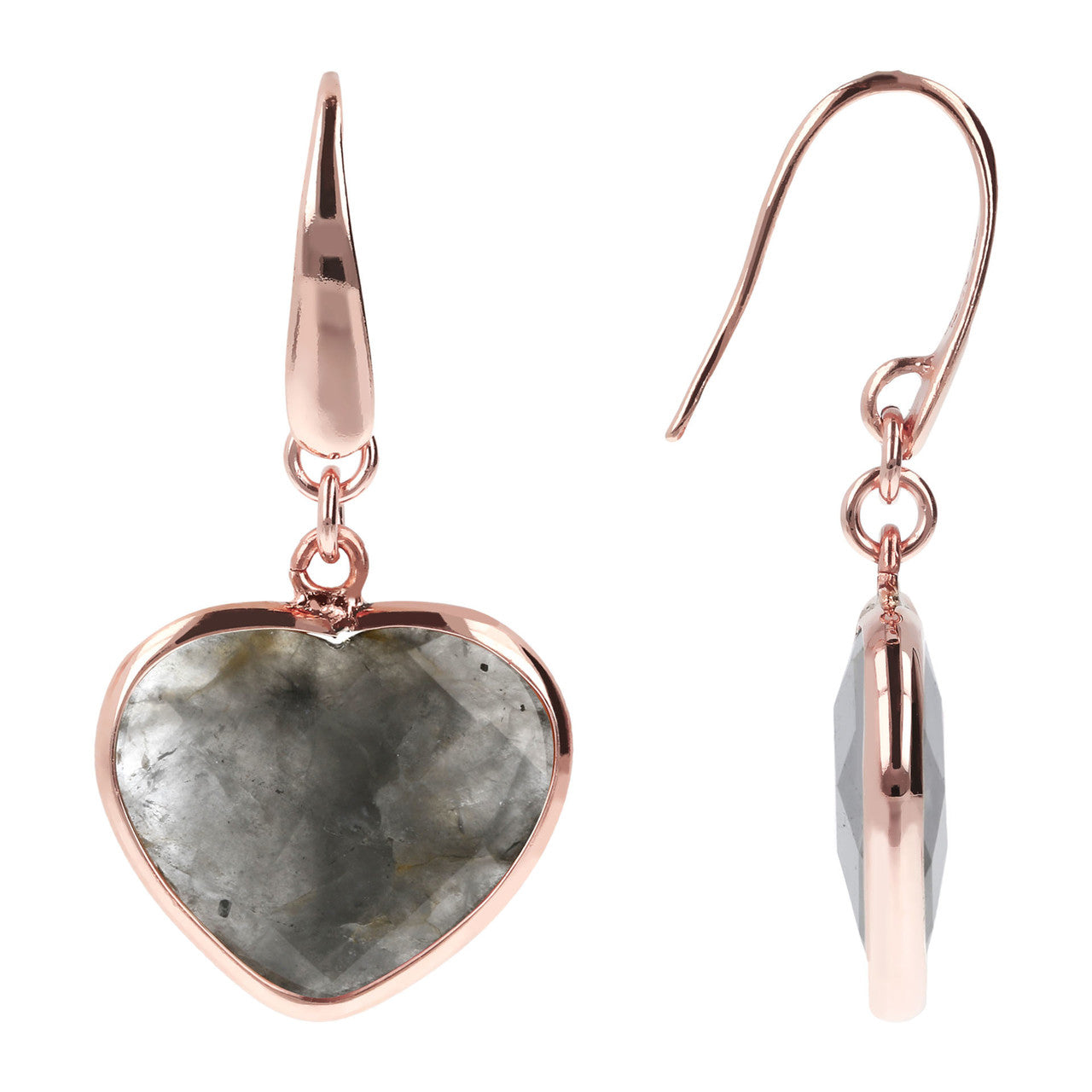Mother of Pearl Heart Earrings front and side