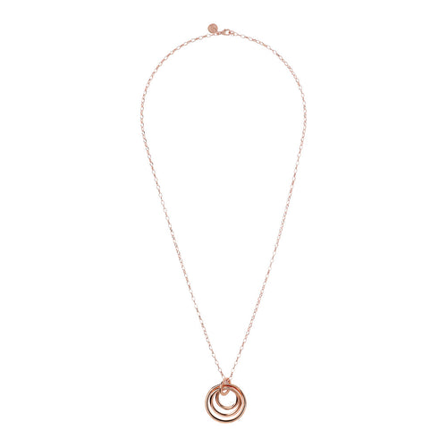 Multi Circle Necklace Golden Rose; from above