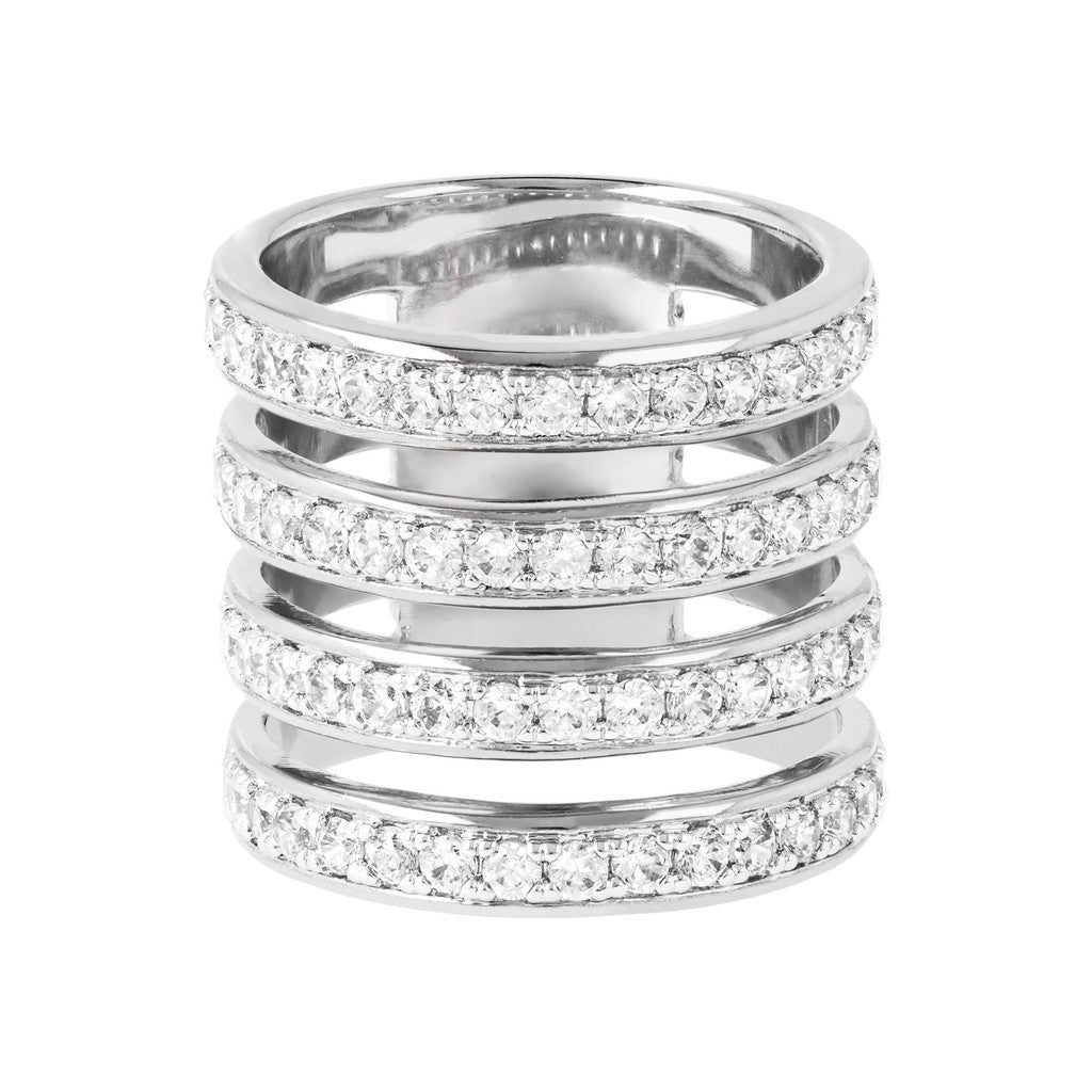 White gold rings for women: Multi-band Ring Luna with CZ setting