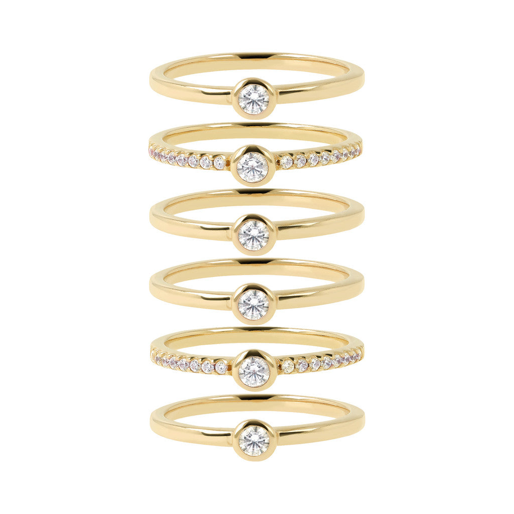 Multiple Ring CZ and Yellow Gold setting