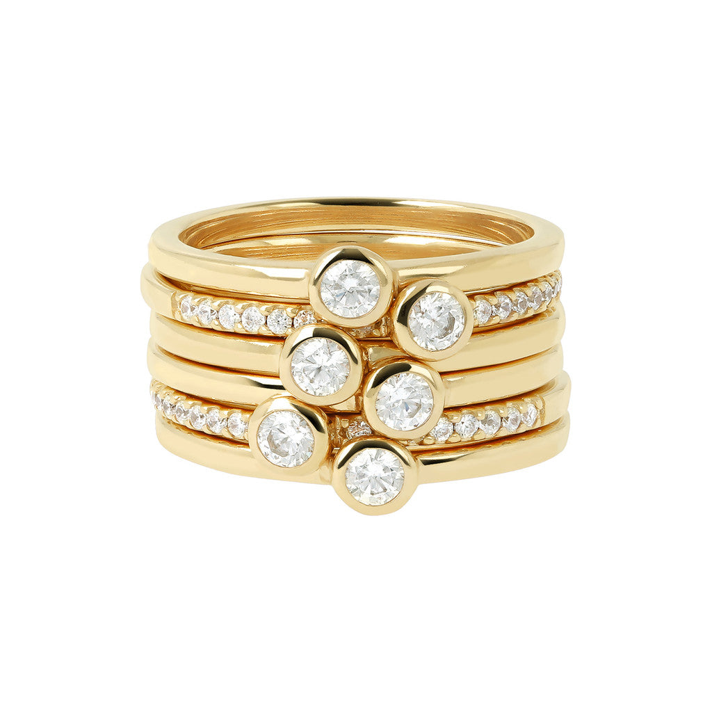 Multiple Ring CZ and Yellow Gold