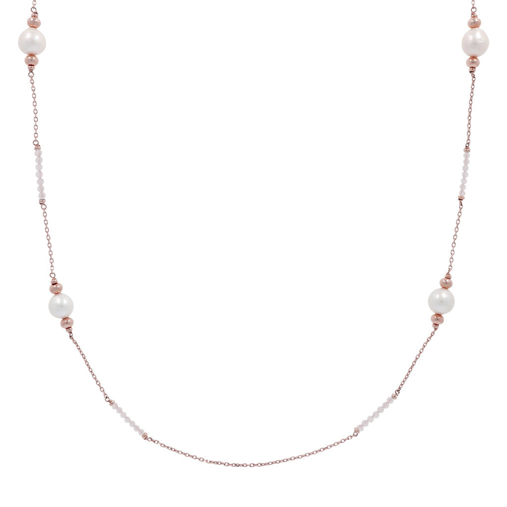 Natural Gemstones and Pearls Necklace PINK QUARTZITE