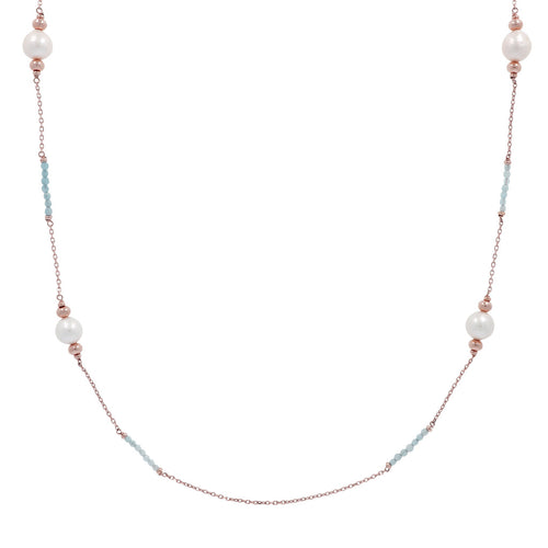 Natural Gemstones and Pearls Necklace