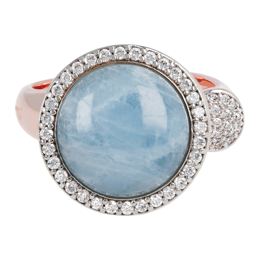 Open ring MILKY AQUAMARINE setting
