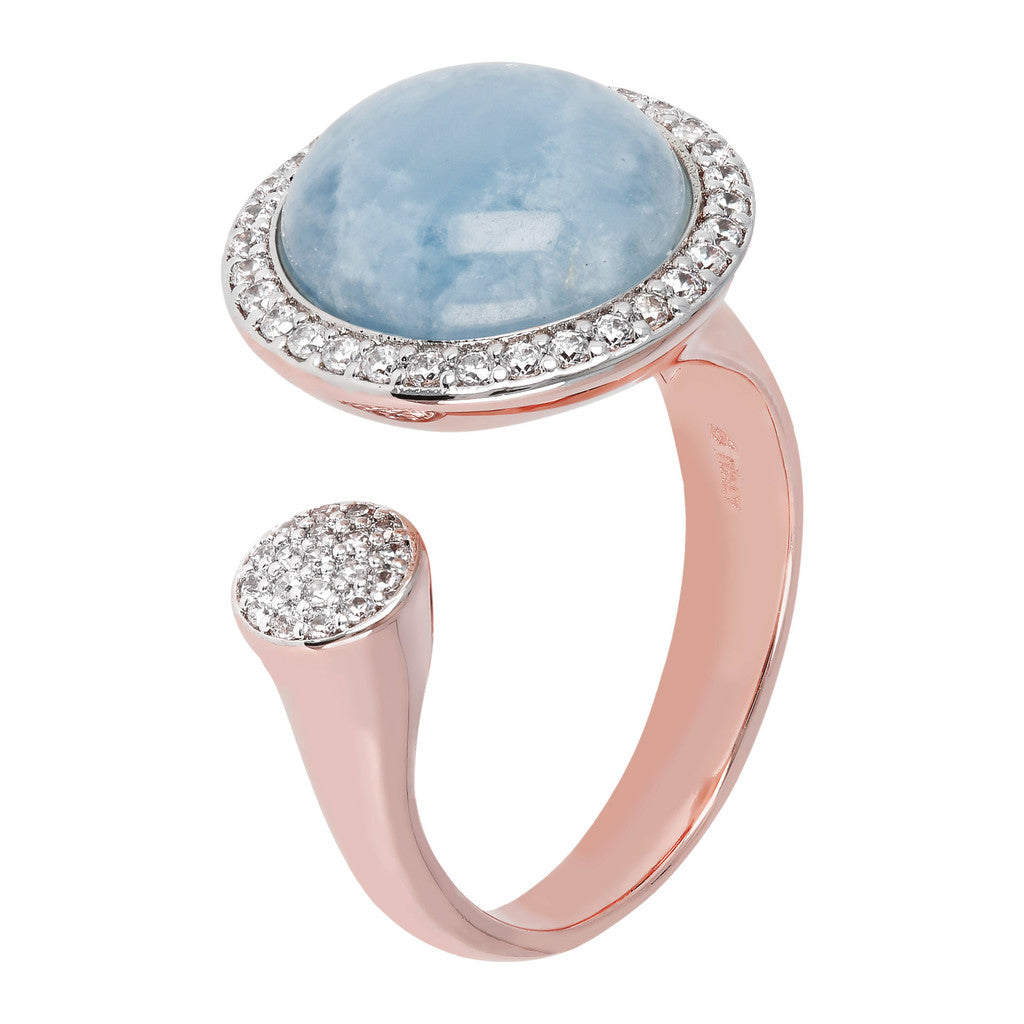 Open ring MILKY AQUAMARINE