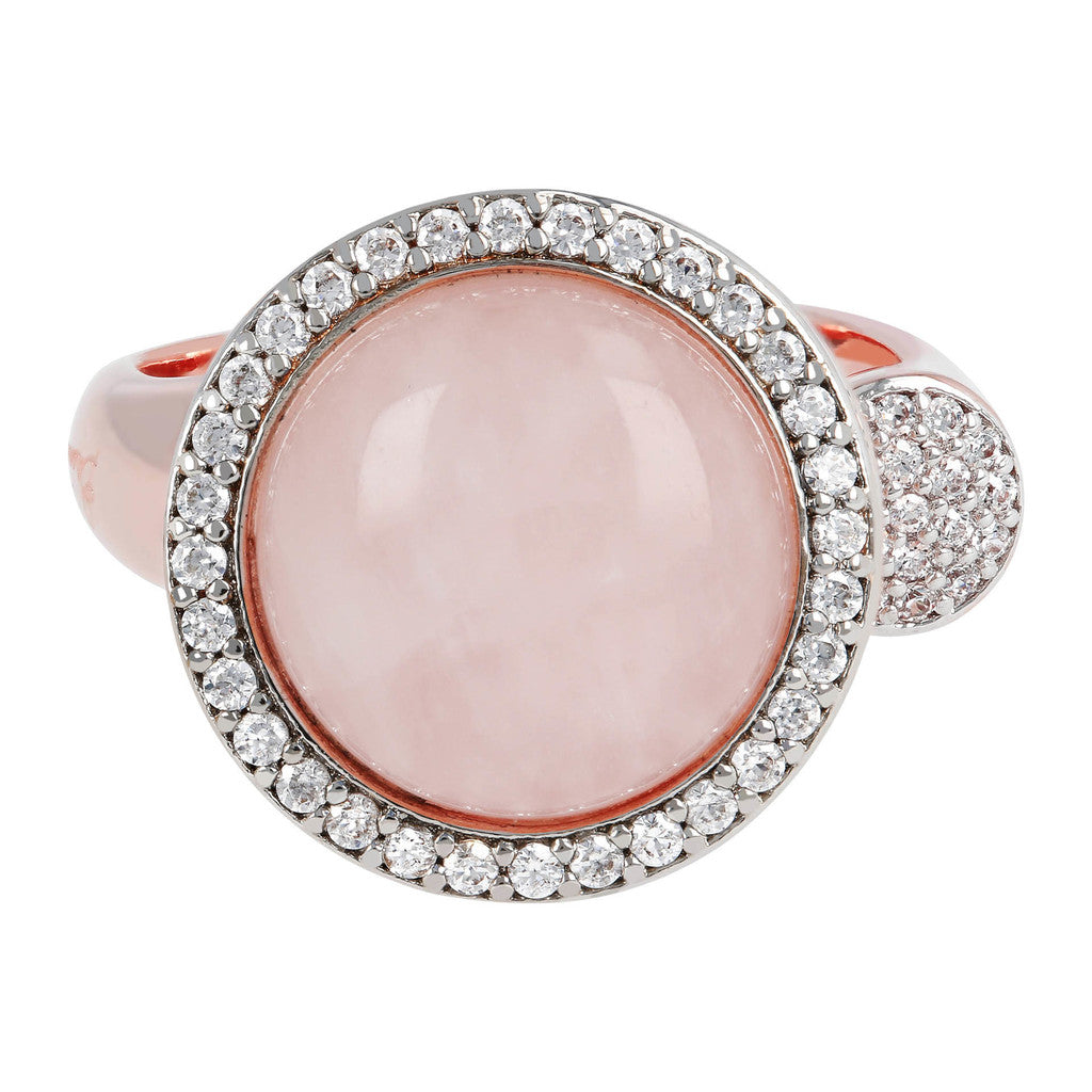 Open ring ROSE QUARTZ setting
