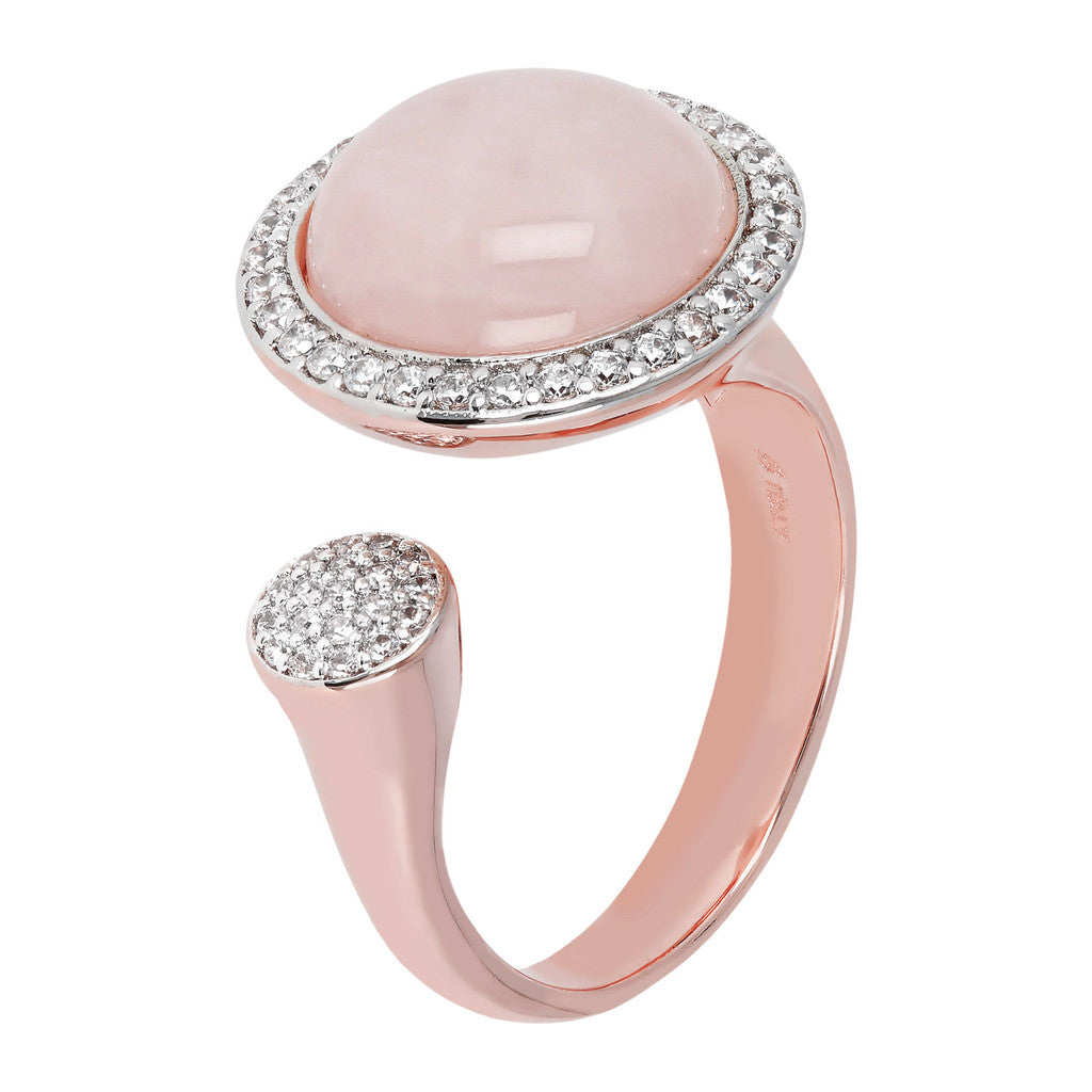 Open ring ROSE QUARTZ