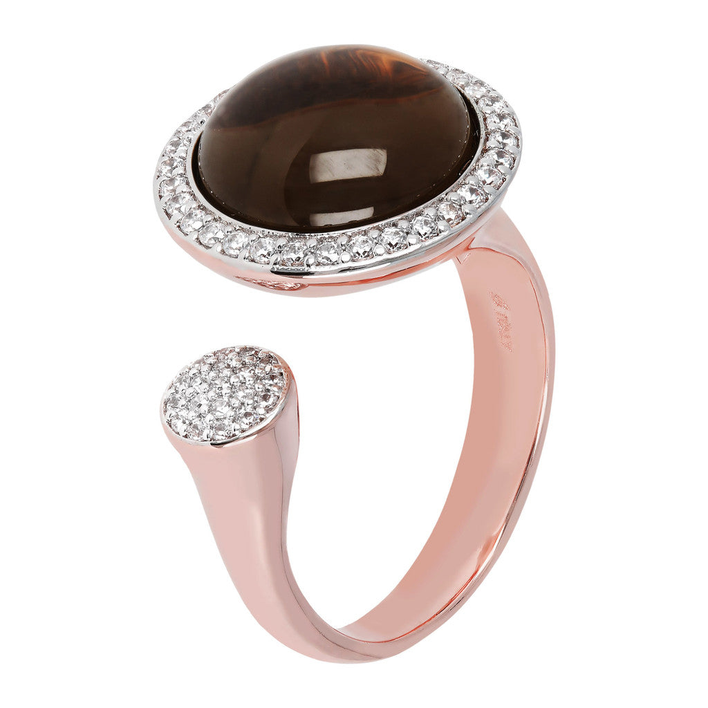 Open ring SMOKY QUARTZ