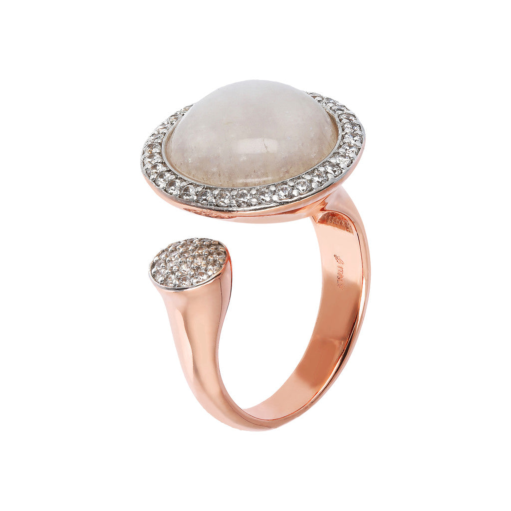 Open ring WHITE MOONSTONE + WHITE CZ