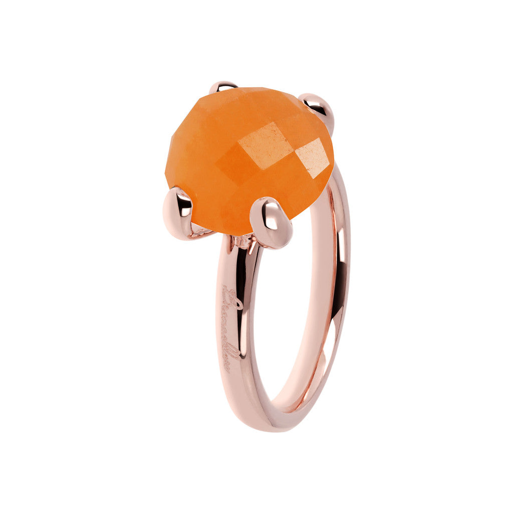Orange Chalcedony Cocktail Ring
