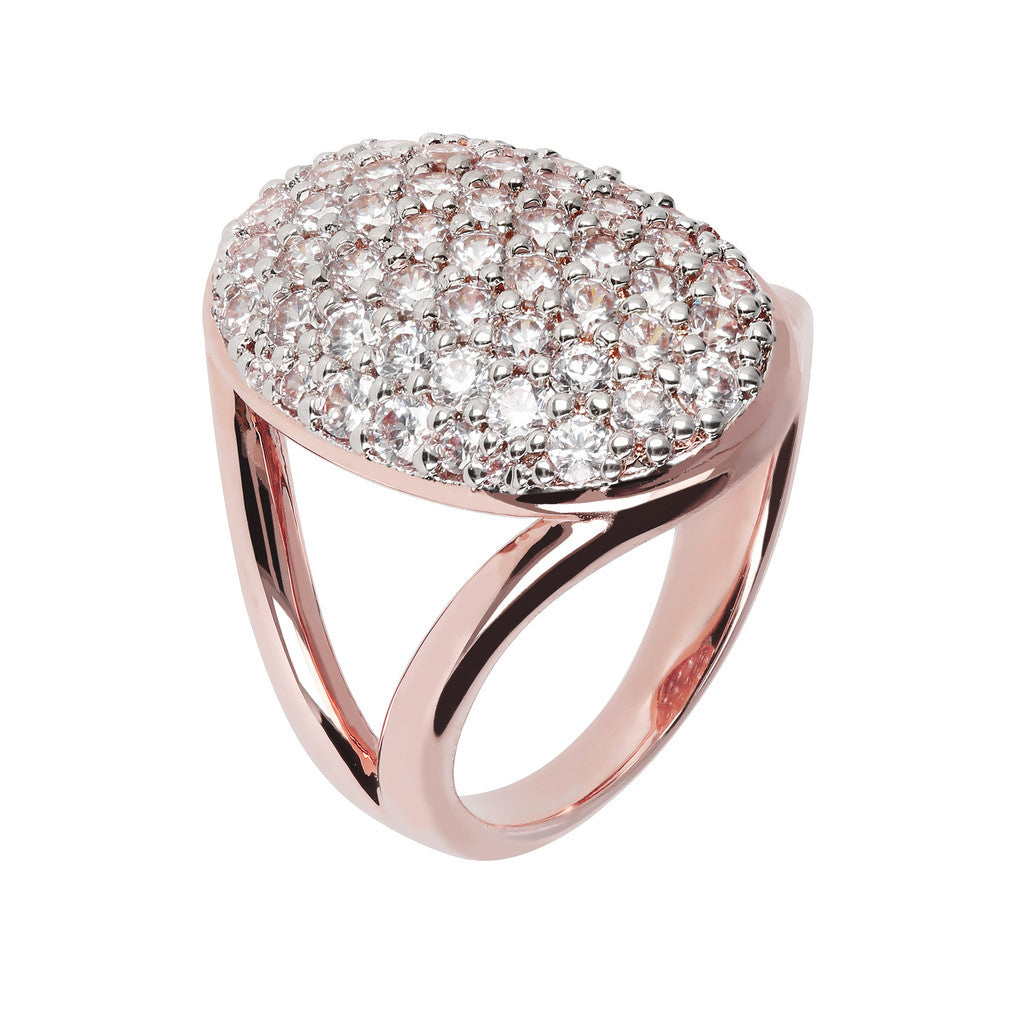 oval pave ring CUBIC ZIRCONIA