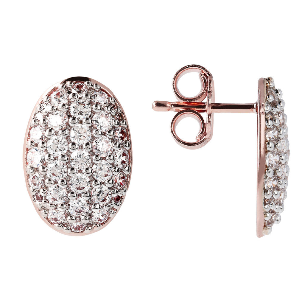 Oval Pave Button Earrings CUBIC ZIRCONIA front and side
