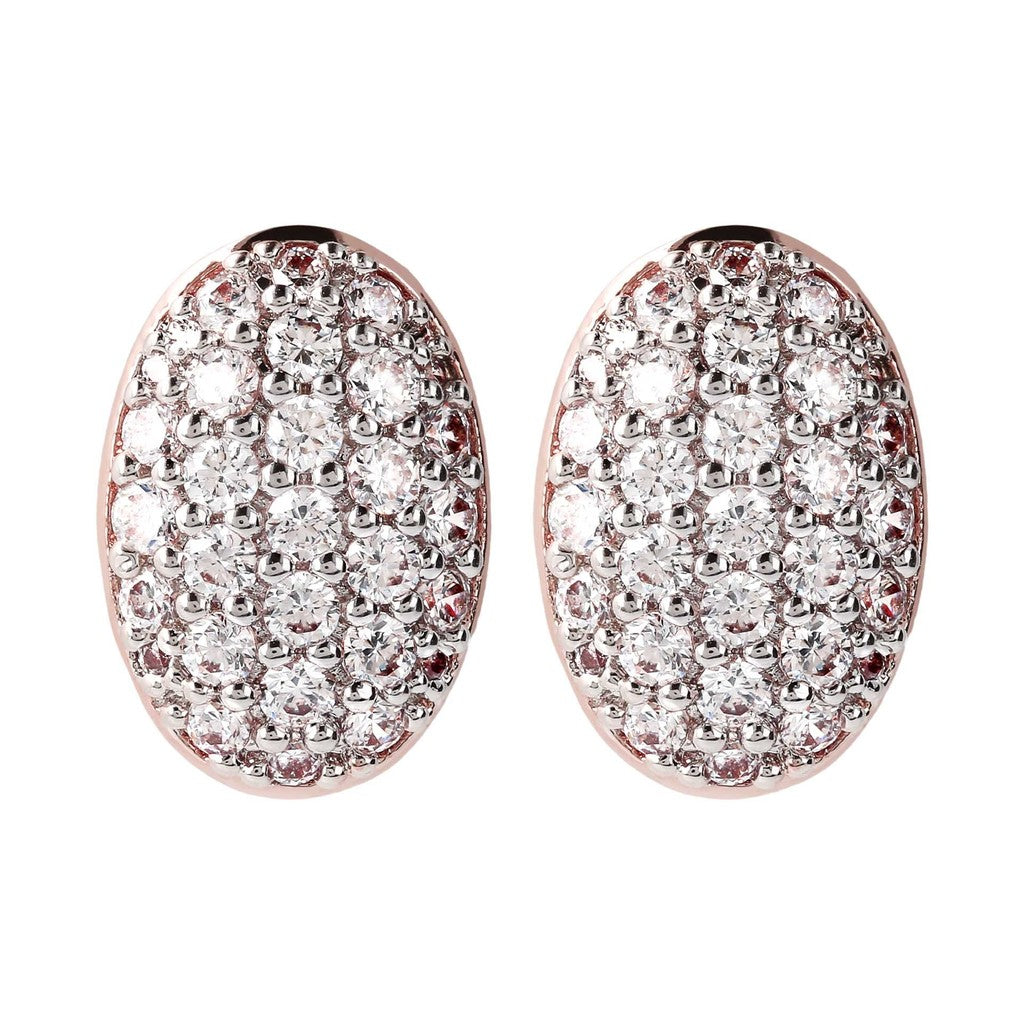 Oval Pave Button Earrings CUBIC ZIRCONIA