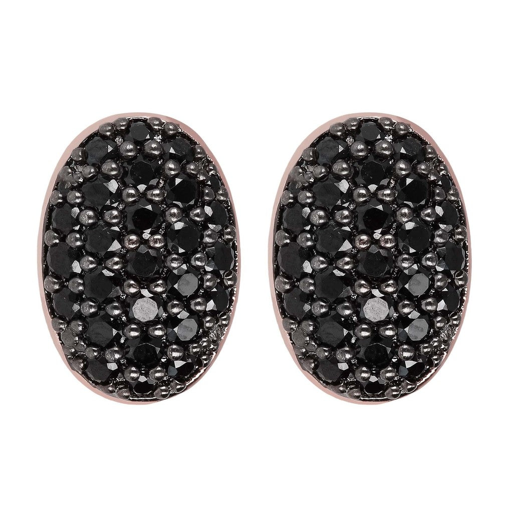 Oval Pave Button Earrings