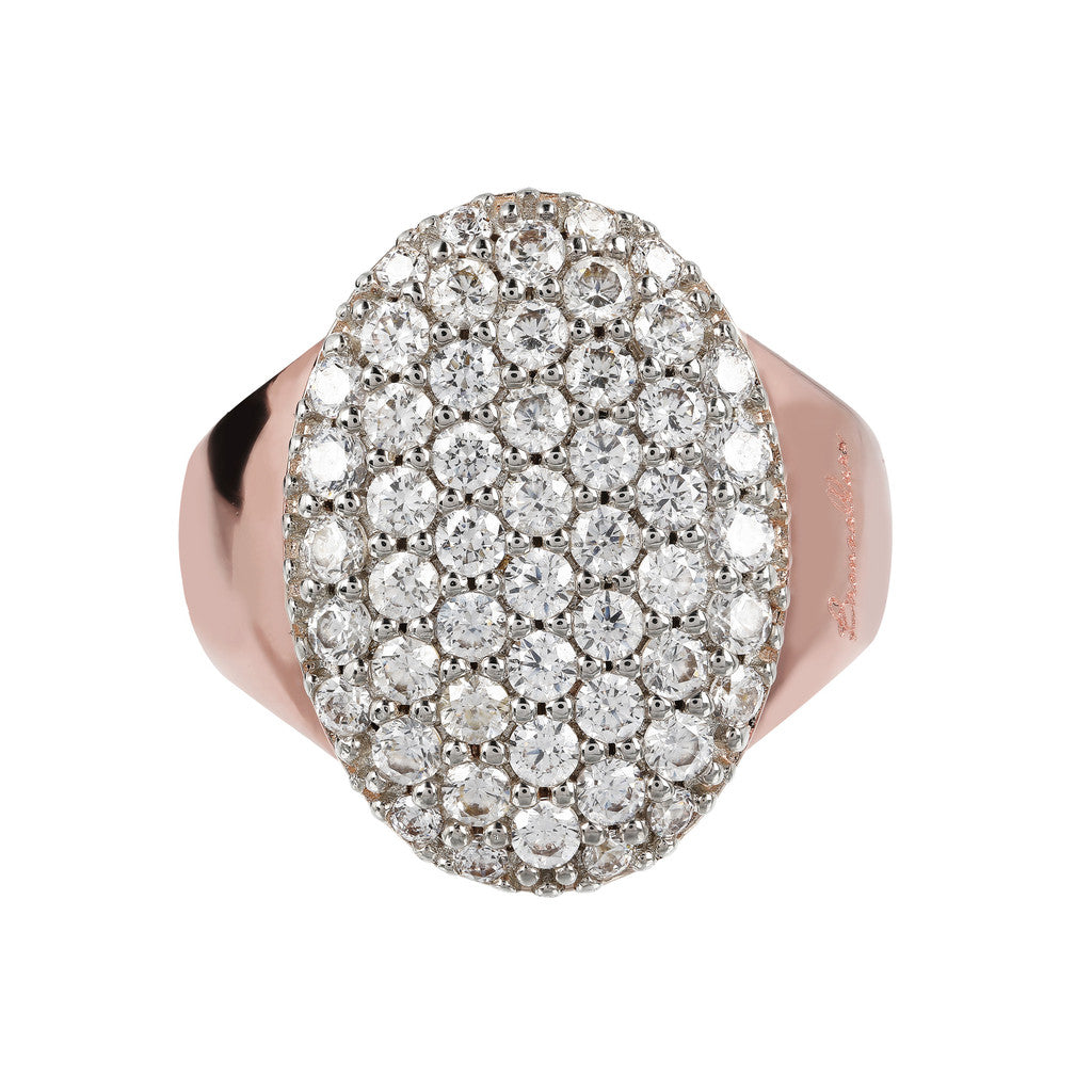 Oval Pave Tapered Ring setting