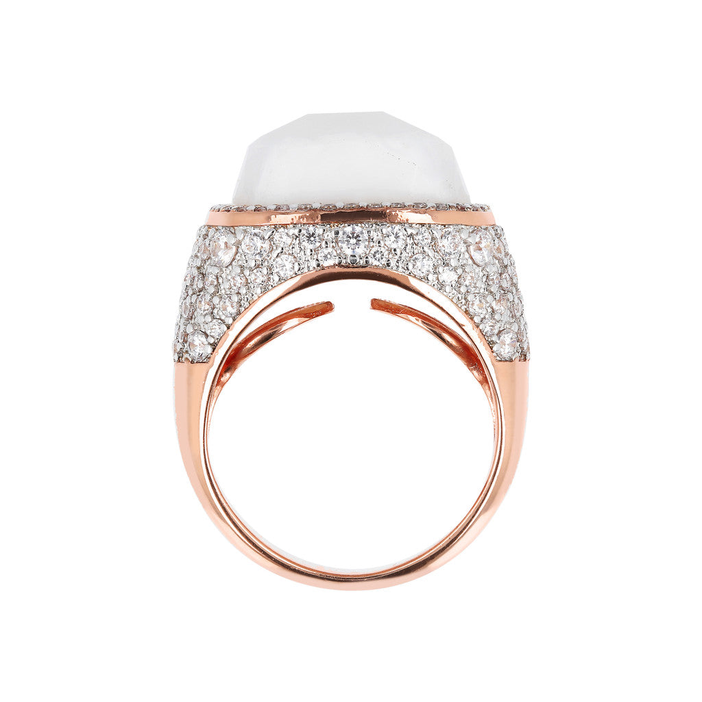 PREZIOSA ADJUSTABLE RING WITH WHITE LACE AGATE AND WHITE CZ PAVE' - WSBZ01586 setting