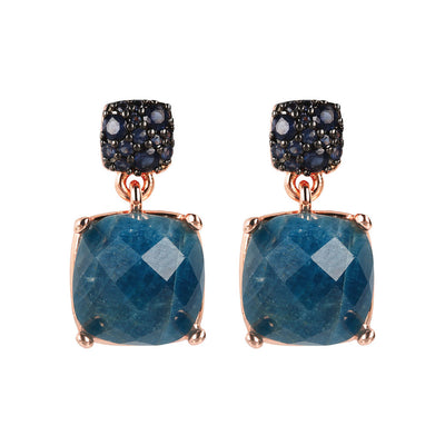 PREZIOSA SUQARED STONE EARRINGS WITH TOP CZ PAVè - WSBZ01760