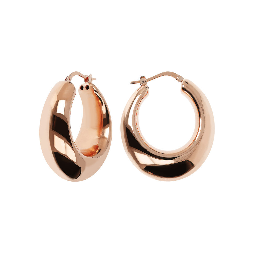 PUREZZA 1.25 inches long bold round hoops - WSBZ01629 front and side
