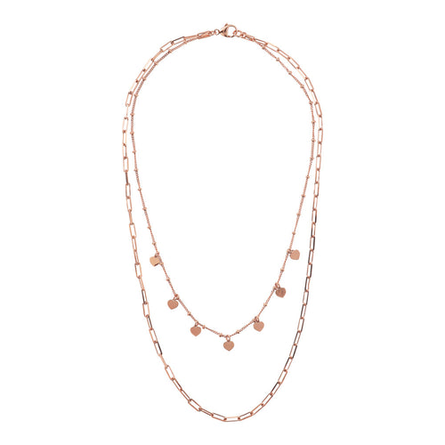 Bronzallure | Necklaces | Double Strand Necklace with Forzatina Chain and Golden Rosé Hearts