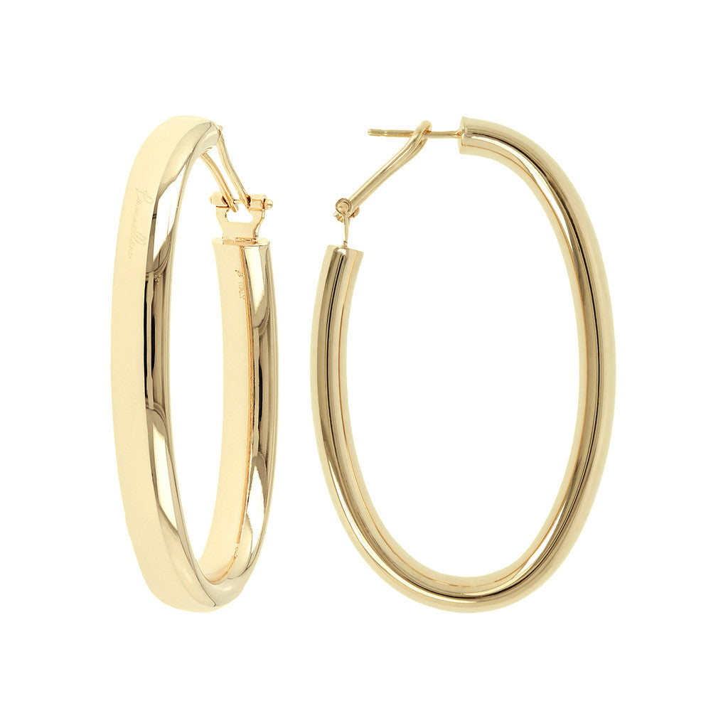 PUREZZA BRONZALLURE GOLDEN BIG OVAL HOOP EARRINGS - WSBZ00376Y front and side