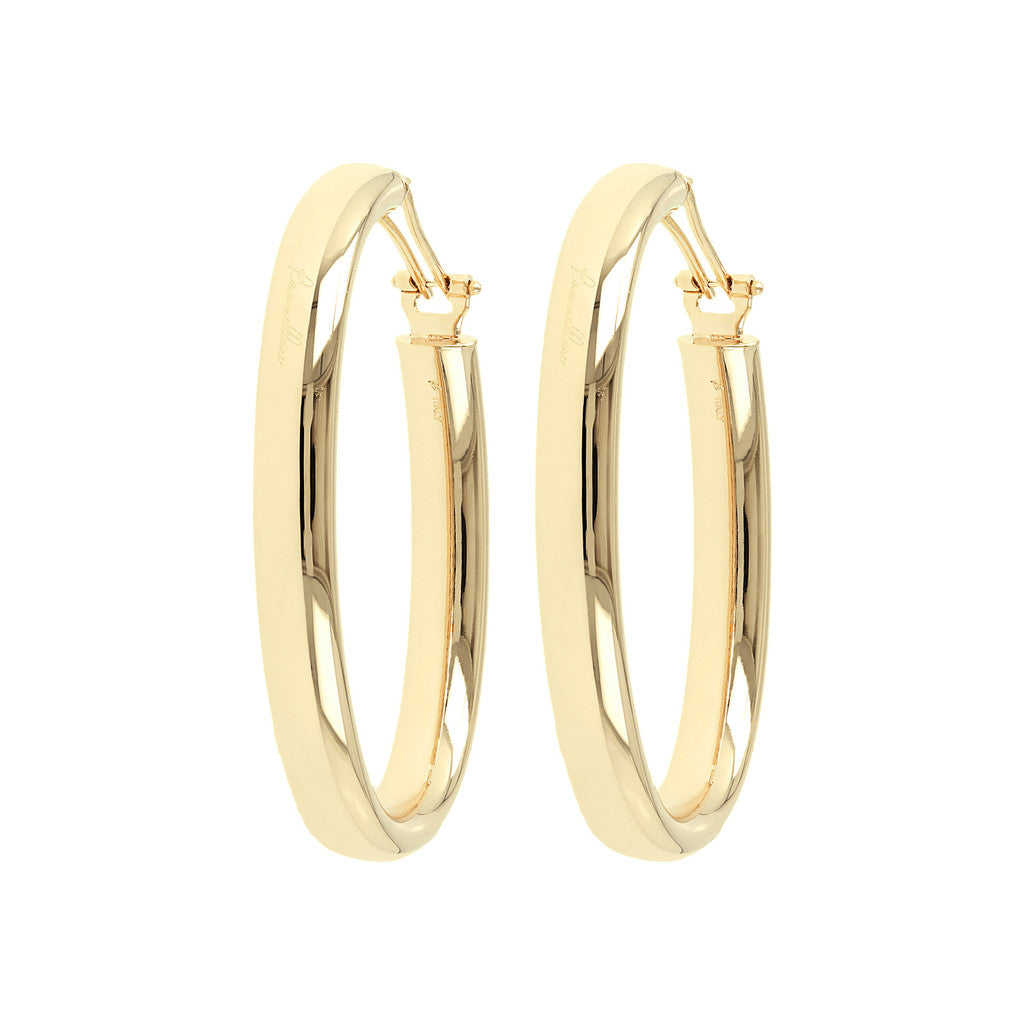 PUREZZA BRONZALLURE GOLDEN BIG OVAL HOOP EARRINGS - WSBZ00376Y